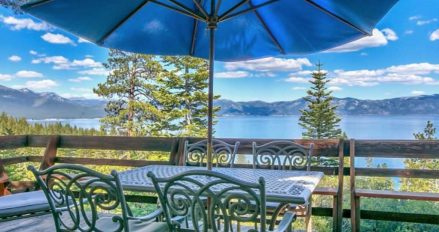 Table with umbrella overlooking lake
