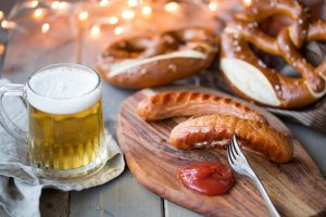 sausage, pretzel, and beer