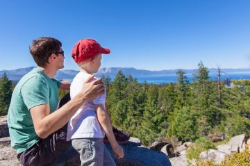 family hiking in tahoe before school begins again