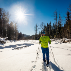 Person cross-country skiing.