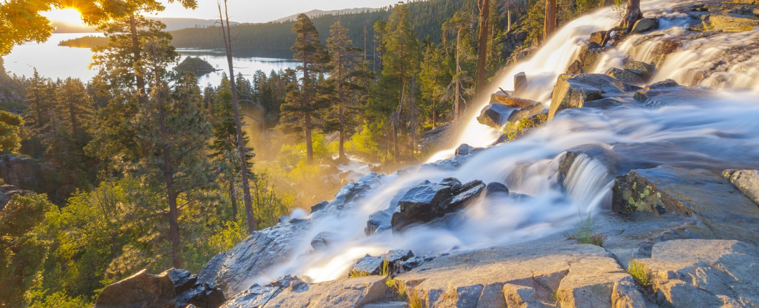 View of waterfall in the mountains during autumn in Lake Tahoe.