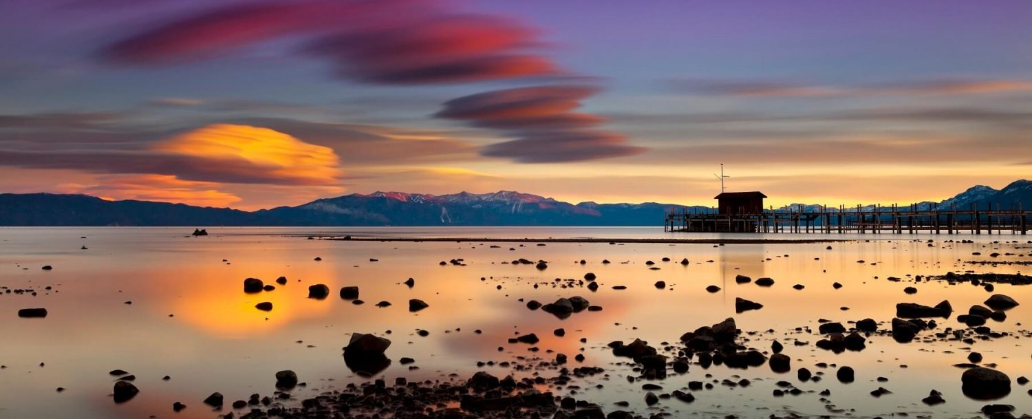 Colorful sunset view of North Lake Tahoe.
