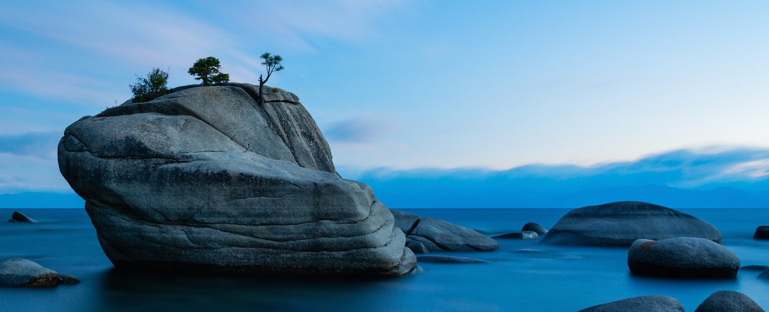 Bonsai Rock, Lake Tahoe after sunset